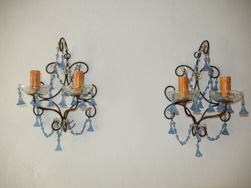 ~c 1920 French Periwinkle Lavender Purple Opaline Flowers Petit Baroque Sconces~