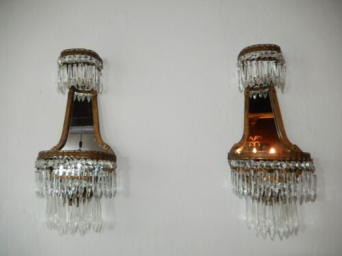 ~OLD  French Crystal Prisms Bronze Sconces Empire with Mirrors Vintage c 1900~
