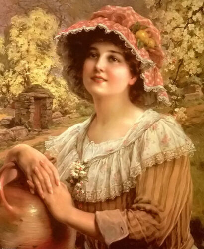 Oil painting emile vernon - country spring young girl in landscape & flowers art