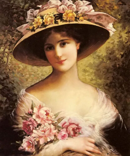 Oil painting emile vernon - the fancy bonnet beautiful young girl with flowers