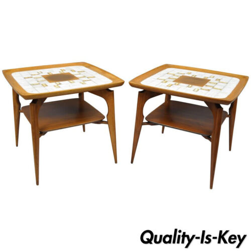 Pair of Mid Century Danish Modern Walnut & Tile Dish Top Sculptural End Tables