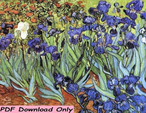 Irises By Vincent Van Gogh Cross Stitch Pattern. Pattern Only. Instant Delivery.