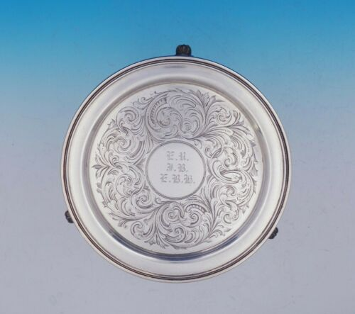 Ball Tompkins and Black Coin Silver Salver Tray Beaded Cast Feet BC (#3632)