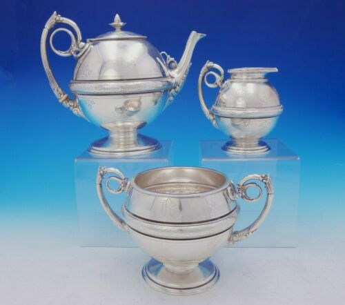 Gorham Sterling Silver Tea Set 3pc w/Ivy and Acanthus Leaf Motif #213 (#3653)
