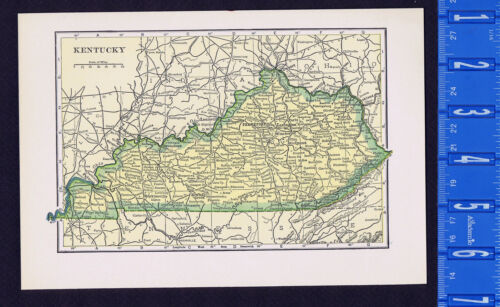 KENTUCKY - Vintage 1930 Color State Map