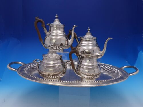 Portuguese .833 Silver Tea Set 5-Piece with Fluted / Ribbed Design (#3688)