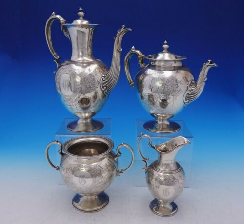 Martin Hall and Co Sterling Silver Tea Set 4pc Hand Engraved c. 1823 (#3698)