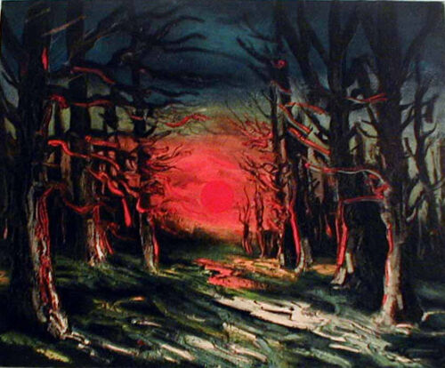 Sunset Forest of Senoches by Vlaminck 15-color Lithograph Edition Size 2000
