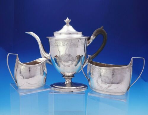Robert and David Hennell English Georgian Sterling Silver Coffee Set 3pc (#3743)