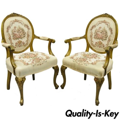 Pair of French Louis XV Victorian Style Needlepoint Tapestry Fireside Arm Chairs