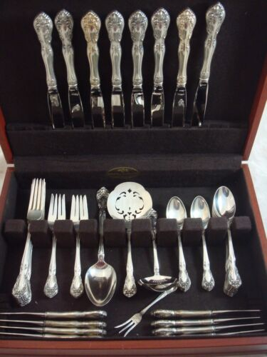 Chateau Rose by Alvin Sterling Silver Flatware Set Service Dinner Size 52 Pieces
