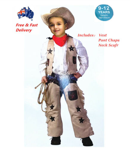Kids Texan Cowboy Rodeo Wild West Western Sheriff Boys Costume Fringed Book Week