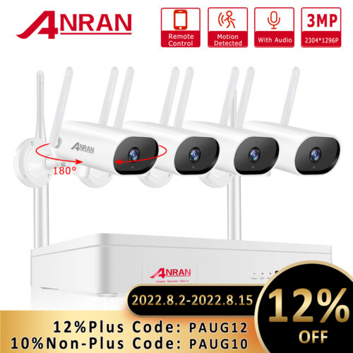 ANRAN CCTV Security WIFI Camera System Wireless Outdoor Home 8CH NVR Waterproof