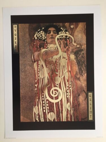 GUSTAV KLIMT 'HYGIEIA,1907' AUTHENTIC 1990's ART PRINT WITH METAL IMPRINTS