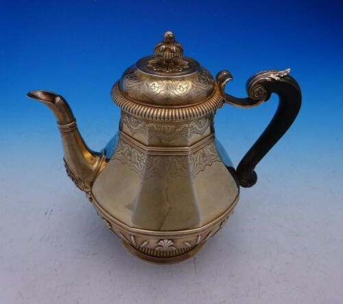 Cardeilhac French .950 Silver Tea Pot Vermeil with Ebony Handle Cattails (#3781)