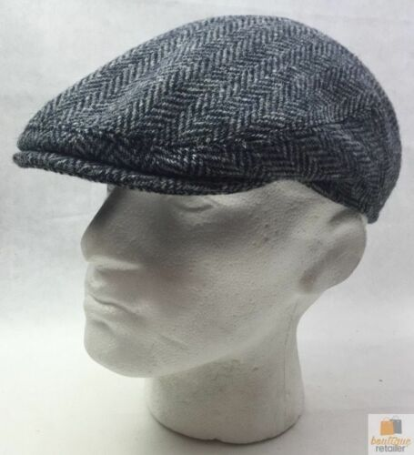 HARRIS TWEED Flat Cap Hat Wool Herringbone Country Driving Fishing Cap Linney