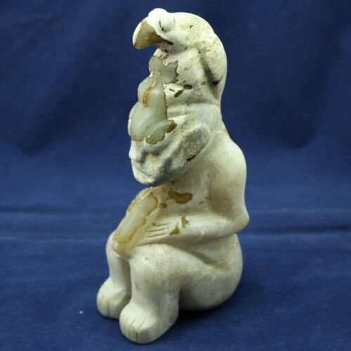 Ancient Chinese Hongshan Culture Old HeTian Jade Eagle Sun God Statue 6.1""