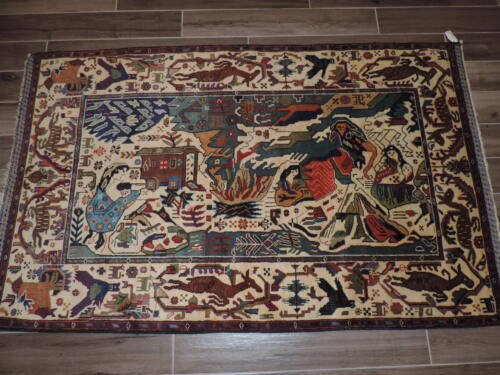 4x6ft. Authentic Handknotted Afghan Aksi Balouch Wool Pictorial Rug