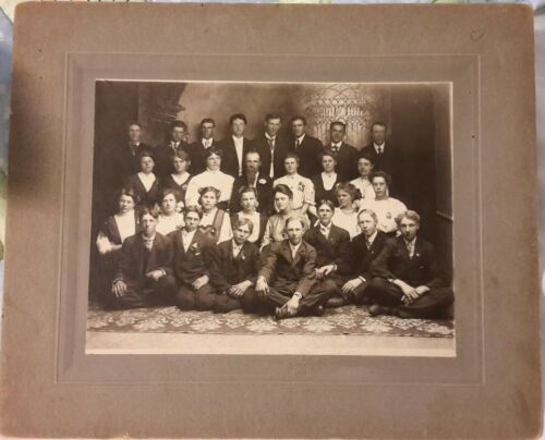 Large 10x12 Vintage Old Victorian Photo c. 1900 American Men Women School Class
