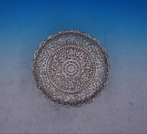 Colonial India Sterling Silver Tray Round Repoussed Deer Birds Pierced (#3900)