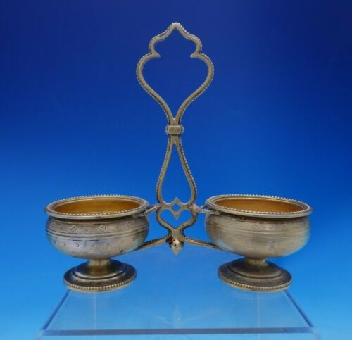 French .950 Silver Master Salt Caddy with Two Vermeil Bowls Cast Handle (#3907)