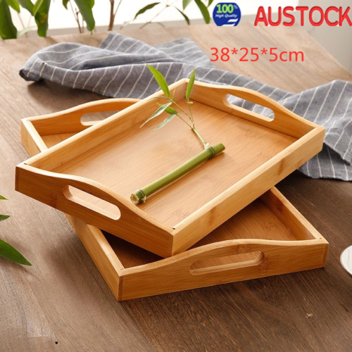 Round Natural Wood Serving Tray Plate Tea Food Server Dishes Water Drink Pl