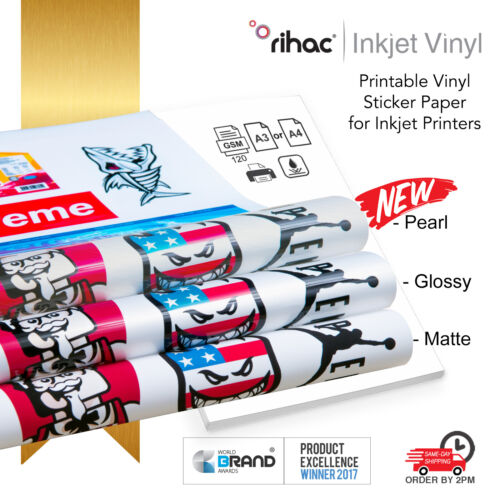 Vinyl Sticker Paper - Inkjet Printable A4 & A3 Sheets Gloss Matte Self Adhesive