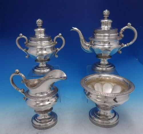 Marquand and Co Coin Silver Tea Set 4pc Leaf Bead Border Flower Finials (#3981)