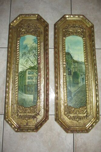 Vtg Old Antique PAIR Wall Pictures ~ Old Town/Buildings~Ornate~E.A.Ruba Co. Inc.