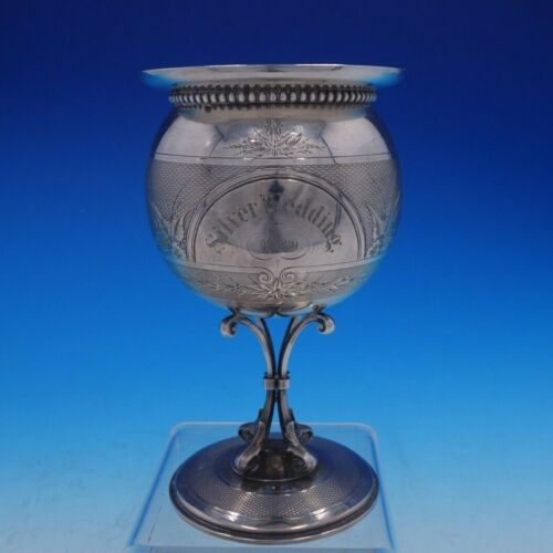 Coin Silver Water Goblet with Hand Engraving and Gold Wash Gorham 1860 (#4257)
