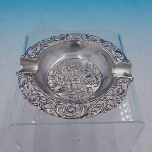 1922 Danish 833 Silver Ash Tray with Pierced Edge and Figural Scene (#4259)