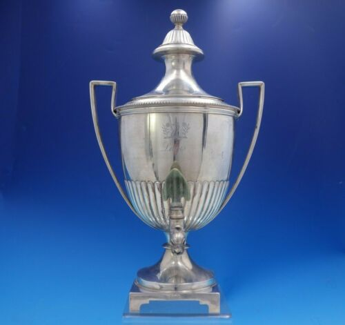 English Georgian Sterling Silver Samovar with Coat of Arms Dogs Flowers (#4051)