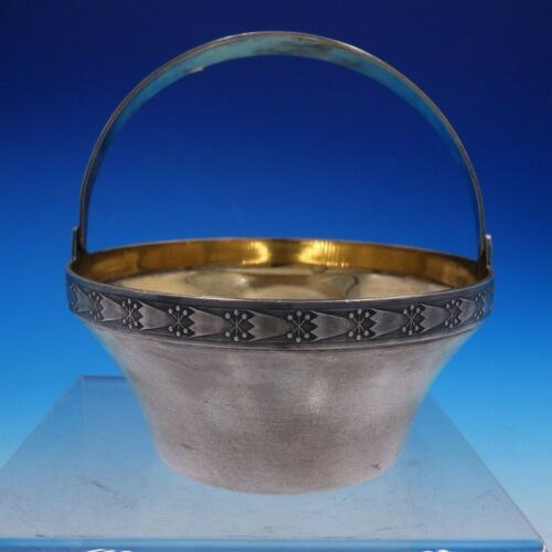 Russian 916 Silver Sugar Basket with Gold Wash Interior and Swing Handle (#4229)