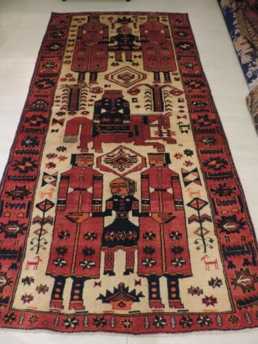 5x9ft. Heavy Hamadan Pictoral Tribal Wool Rug
