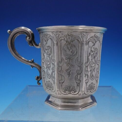 Vintage Victorian English Silver Child's Cup with Fancy Chased Panels (#4241)