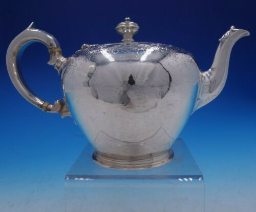 Victorian 1837 English Silver Hand Chased Tea Pot by Charles Gordon (#4246)