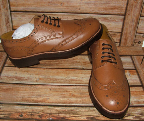 New Mens Church Walk Tan Hand Made Goodyear Welted Leather Brogue Shoes  12UK