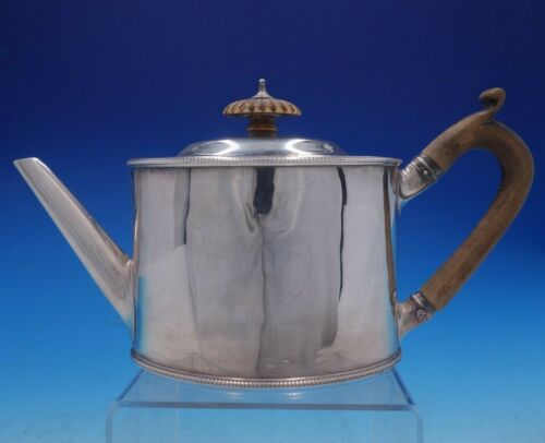 Georgian English Silver Tea Pot with Wood Handle and Beaded Border (#4247)