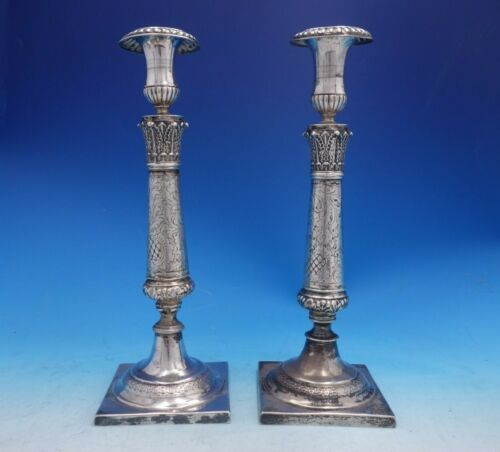 Friedlander and Co German .800 Silver Candlestick Pair Square Base (#4068)