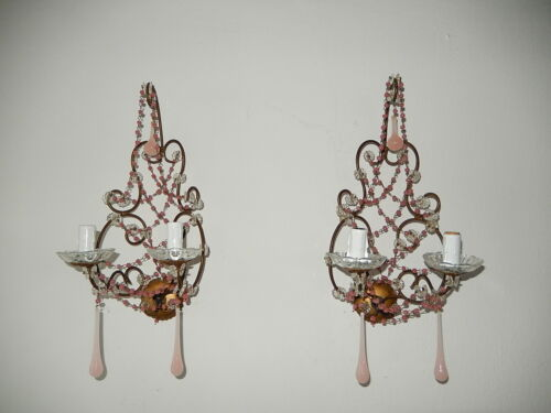 ~c 1920 French RARE  Beaded Pink Opaline One~of~ a~ Kind  Sconces~