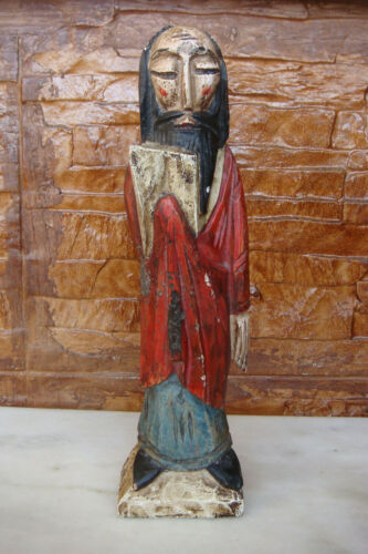 RARE ANTIQUE ASIA CHINESE OR JAPANESE Wood Carved Polychrome FIGURE