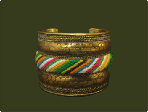 Snakeskin Leather Texture Brass W/ Colorful Fabric Threads - Old Cuff Bracelet