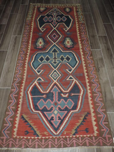 4x8ft. Handmade Vintage Kilim Russian Wool Runner