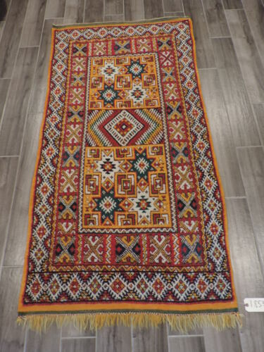 3x6ft. Handmade Colorful Moroccan Wool Runner