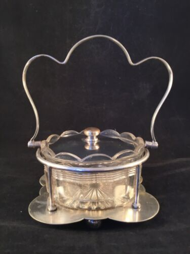 ANTIQUE 1910-1940 Raeno EPNS Silver Plated SILVERPLATE LIDDED GLASS DISH Candy