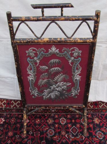 BEAUTIFUL VICTORIAN BAMBOO ANTIQUE FIRESCREEN WITH FLORAL GLASS BEAD WORK
