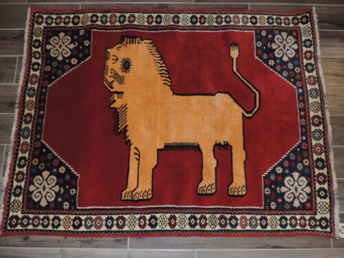 4x5ft. Handmade Quasqui Lion Design Wool Rug