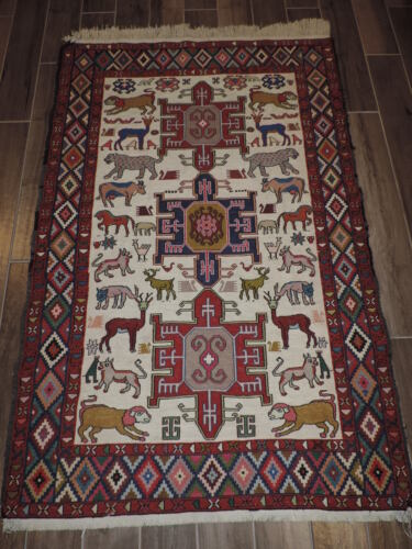 4x6ft. Handmade Kilim Sumak Wool and Silk Rug