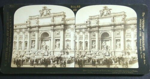 1903 STEREOVIEW CARD THE MAGNIFICENT FOUNTAIN OF TREVI IN ROME ITALY H C WHITE