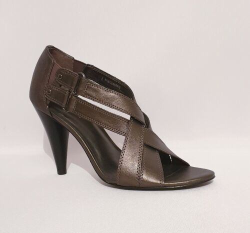 M & S Autograph Grey Metalic Leather Strapped High Heels Open Toe Womens UK 6